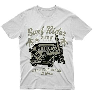Fm10 Camiseta Surf Rider California Playa Mesa Furgoneta Hippies Motores