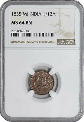 1835 (M) MS64 BN India 1/12 Anna NGC UNC KM 445 TOP POP