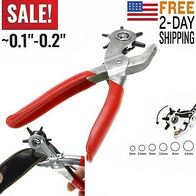Leather Hole Punch Belt Holes Puncher Tool Maker Hand Pliers Heavy Duty Rotary