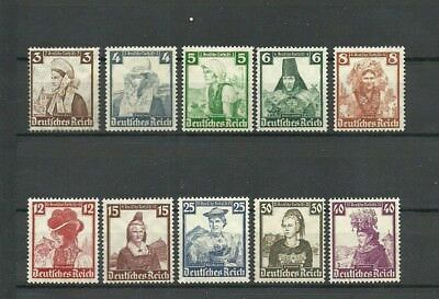 GERMANY. THIRD REICH. 1935. COSTUMES, WOMEN. Mi 588-597. MLH OG ! PERFECT