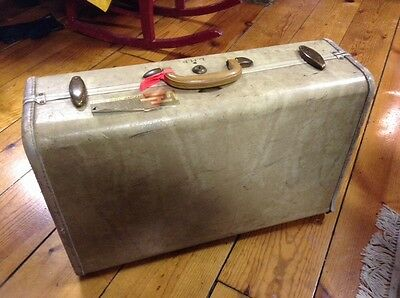 Vintage Cream Colored Samsonite Suitcase