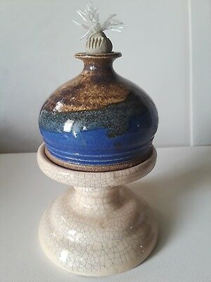 Vintage Studio Hand Crafted Art Pottery Signed stoneware oil lamp vase tri-color