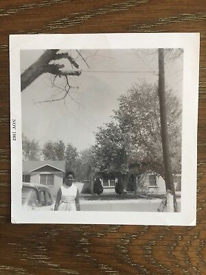 Vtg 1963 Snapshot Photo Beautiful Black African American Woman Suburban Mom B58