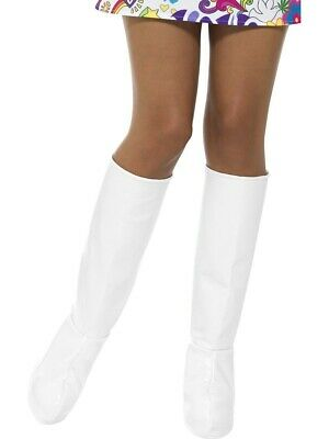 Ladies Go Go White Boot Covers Boot Tops 60s 70s Hippie Costume Shoes