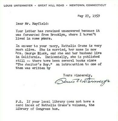 LOUIS UNTERMEYER signed letter 1959  Poet