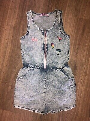 Girls Age 10 Denim Look Playsuit Slogan Badges Summer Holiday Casual Party