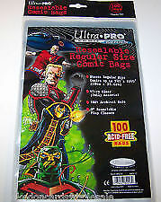 """1 Pack of 100 Ultra Pro 7 1/8"""" Regular Comic Book Storage Bags RESEALABLE"""