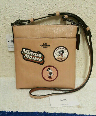 5e73eed96f5 New  175 Coach x Disney Minnie Mouse Beechwood Leather Crossbody With  Patches