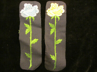 """YELLOW OR BLUE ROSE DENIM vintage 70s IRON ON PATCH  NOS approx. 9-3/4"""" x 2-7/8"""""""