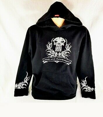 796c1744 Marvel Punisher Retro Tribal Skull Symbol Mens Graphic Lightweight Hoodie  NWT PD