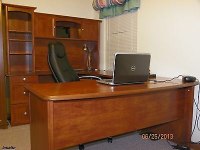 NEW U-Shaped Office Executive Desk WITH Hutch, Maple (+ L-shaped) FREE Delivery