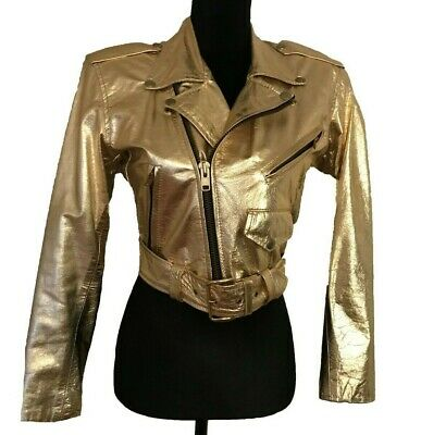 ($1,600) Vintage Gold Biker Jacket. Stunning!! Size small. Great Condition. Belt
