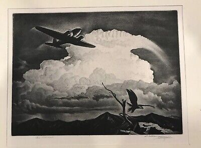 "WILLIAM HEASLIP Etching 1940 ""The Intruder"" Limited Edition 250 SIGNED 9X12"