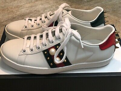 a706b7daaa7 GUCCI WOMEN S ACE Lace Up w  Pearl Leather Studded Sneaker EU 36 US ...