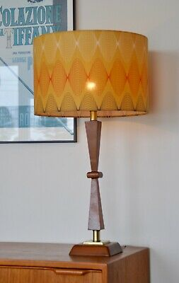 Atomic Retro Eames teak Mid Century Danish 'KNYTTE' Lamp with new bespoke shade