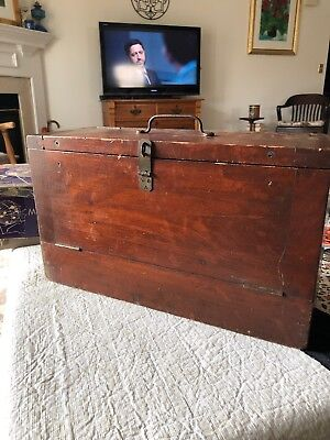 Vintage Primitive Hand Crafted Solid Oak? Wooden Storage Box Early 1900's