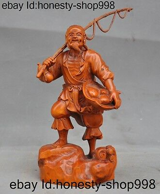 """8""""Chinese boxwood wood Pure Hand-carved Old Man Fisherman Fish Wealth Statue"""