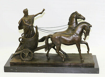 Museum Quality Ancient Greek Bronze Charioteer Of Delphi With Two Horses Decor