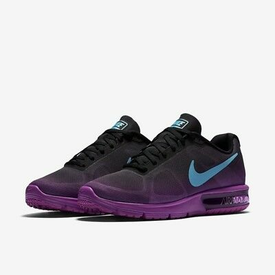 2e08f08fbe Womens Nike Air Max Sequent Running Shoe 719916-010 Black Gray Violet Size  11.5