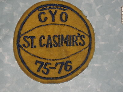 """St. Casimir's 75-76 CYO Patch - vintage 4 1/4"""" x 4 3/8""""  Baltimore Maryland"""