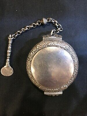 RARE 19th CENTURY STERLING SILVER Ottoman/Bedouin Snuff Box And Spoon 3.3 oz