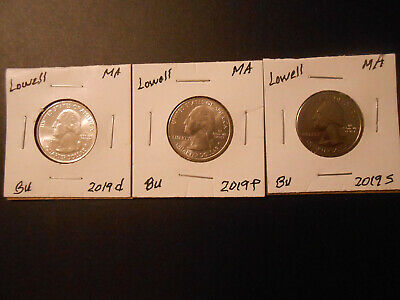 2019 P, D, S: Lowell MA. America the Beautiful Quarter BU, 3 coins on 2 X 2