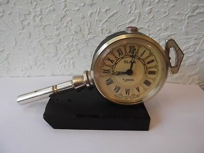 "Vintage USSR Alarm Clock ""Slava"" 11 jewels Key Shape Clock Old Vintage Condition"