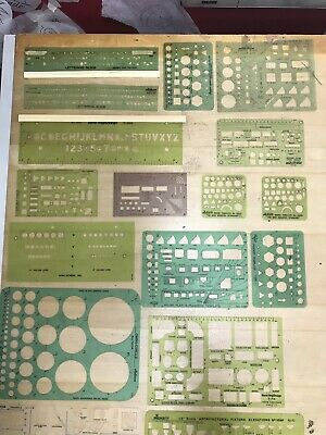Vintage Lot Of 19 Pickett Berol Timely Architectural Lettering Template