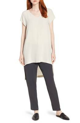 NEW EILEEN FISHER BLACK SILK GEORGETTE CREPE V-NECK LONG  TUNIC-TOP L $268