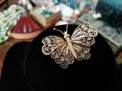 Beautiful Antique Silver Gilt Filigree Butterfly Pin Brooch