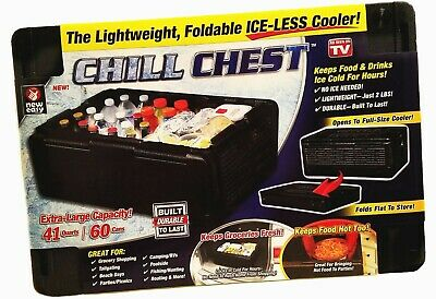 Chill Chest Cooler Deluxe Lightweight Collapsible Ice Less 60 Cans as seen on TV