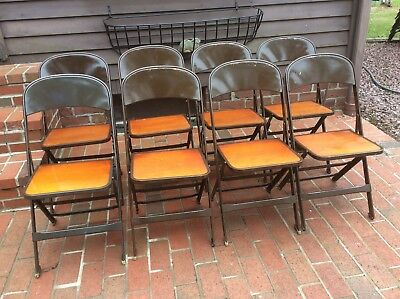 8 Same CLARIN MFG CO wood / Metal Folding Chairs - Very Good