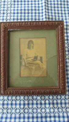 Antique Carved Timber Picture Frame ,old Photo Postcard under Glass