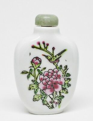 Vintage Chinese Porcelain Snuff Bottle With Jade Stopper ~ 2.5 Inches Tall ~🐘