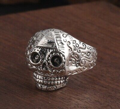 925 Sterling Silver skull punk men's ring rings jewelry adjustable size S2899