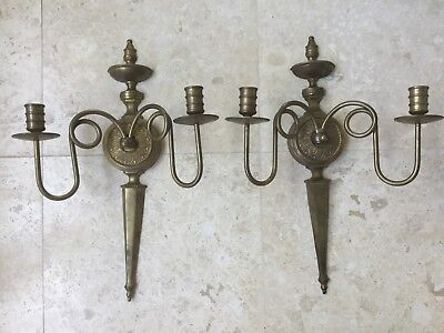 Vintage Pair Of Solid Brass Candleholders Sconces Regency India