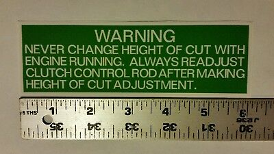 Reproduction lawn-boy mower caution danger deck height cut warning decal.