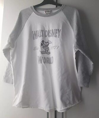Walt Disney World Size L Sweatshirt Grey White Jumper Cute Mickey Mouse