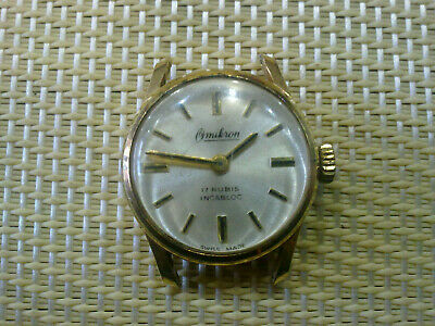gold plated Vintage Old Swiss made women Wrist Watch OMIKRON- WORK