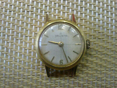gold plated Vintage Old Swiss made women Wrist Watch HELVETIA- WORK