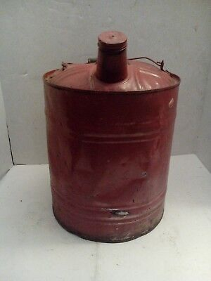 Vintage Red 5 Gallon Gas Can Wood and Metal Handle.  Vintage Decor