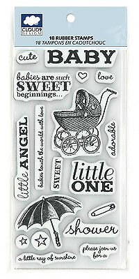 Cloud 9 Baby Shower Invitations Rubber Stamp18 pc Carriage Diaper Pin Umbrella