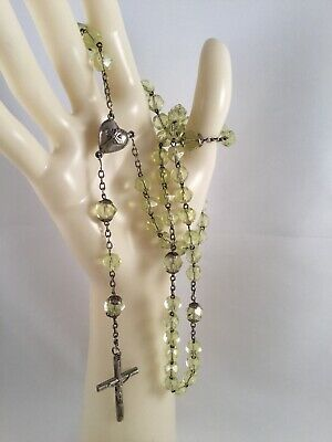French Antique Vintage Old Green Glass Rosary Beads Silver Heart Cross Necklace