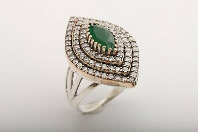 Turkish Jewelry Marquise Cut Emerald Topaz 925 Sterling Silver Ring Size All