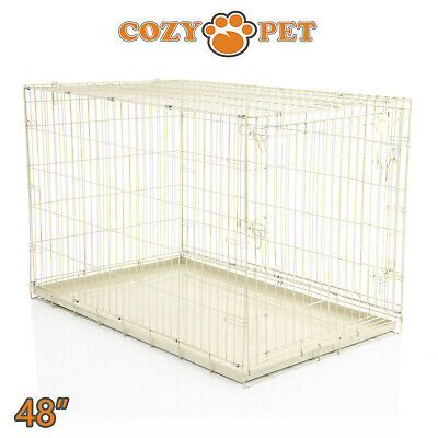 Dog Cage 48 inch Beige Cozy Pet Dog Crate XXL Folding Puppy Cage Travel Metal