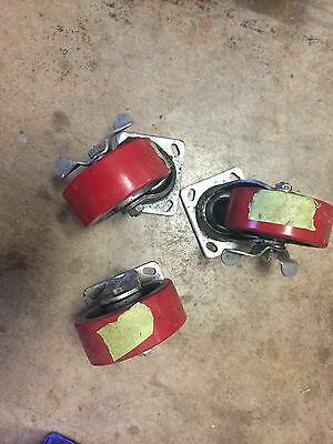 NEW PAYSON CASTERS 2 SWIVEL   and 1 Fixed HEAVY DUTY CASTER WHEEL