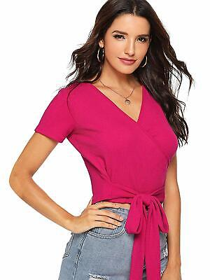 6b1aed3c971 ROMWE Women's Sexy Deep V Neck Surplice Knot Front Wrap Tee Short Sleeve  Solid