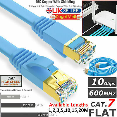 Cat7 Ethernet Cable Flat High Speed Router RJ45 Network LAN Thin PC Patch Cable