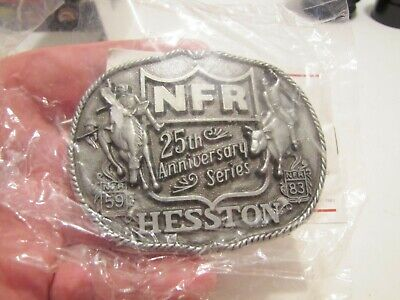 1983 Nfr 25Th Ann. Hesston Western National Finals Rodeo Belt Buckle In Pkg