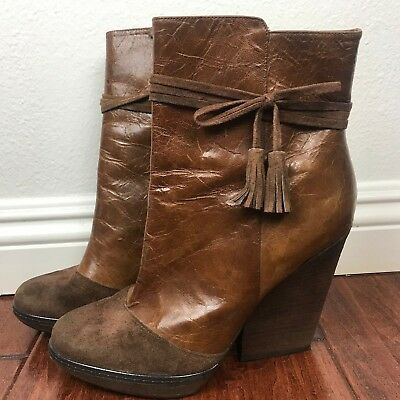 f10c6f86603 Hinge Nordstrom ankle boots Dana brown leather chunky heels size 9.5 M  women s
